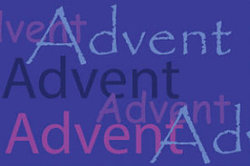 A graphic of the word Advent