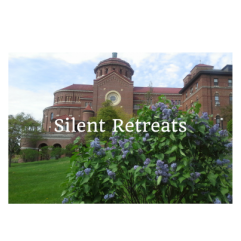 A photo of Monastery Immaculate Conception in the Spring.  Silent Retreats.