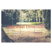 A photo of two swings hanging from a tree in a wooded area with a path.  Spiritual Direction.